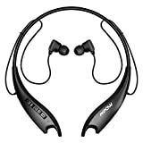 Mpow Jaws Gen5 Bluetooth Headphones V5.0 Bluetooth Neckband Headset, 18H Playtime, Bluetooth Magnetic Earphones W/Call Vibrate & CVC 6.0 Noise Cancelling Mic, Wireless Neckband, Black