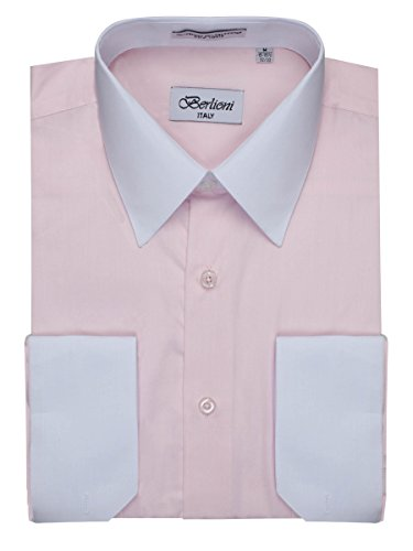 Men's Pink Two Tone Dress Shirt w/ Convertible Cuffs - XXLarge 36 /37 (French Two Shirts Tone Mens Cuff)