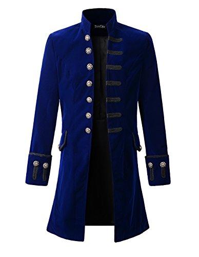 DarcChic Mens Velvet Goth Steampunk Victorian Frock Coat (M, Blue) -