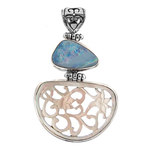 Natural Opal Hand Carved Mother Of Pearl Shell Filigree 925 Sterling Silver Pendant , 1 11/16