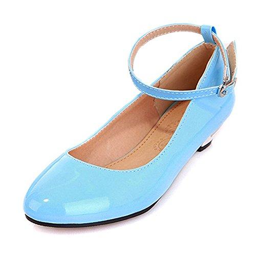 COOLCEPT Moda Mujer Tacon Bajo Al Tobillo Bombas Zapatos Dulce Comodo Zapatos for Colegio Chicas Azul