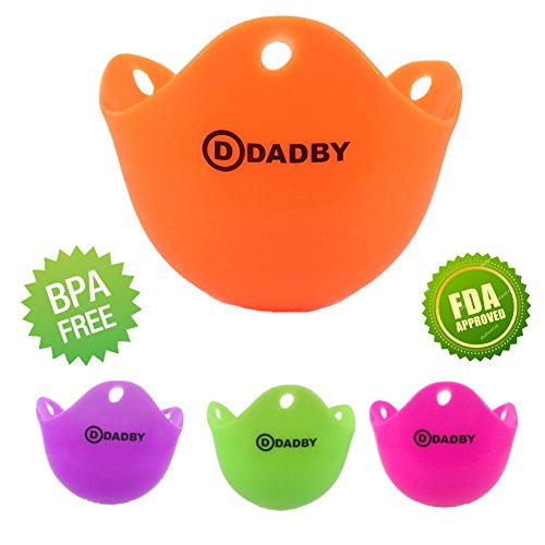 Premium Silicone Egg Poacher Cups by DADBY - BPA Free, FDA Approved - Set of 4 Colorful - For Microwave or Stovetop Egg Cooking - Dishwasher Safe - Poach Pods Kitchen Cookware – Easy to use