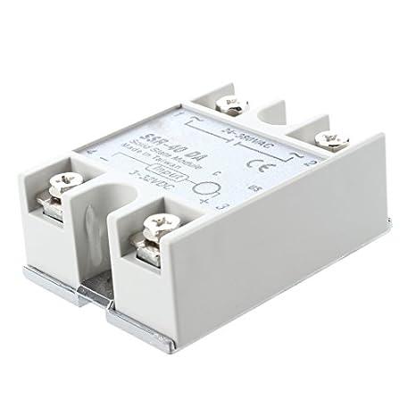 Woljay SSR-40DD 40A Rel/âches de module /à semi-conducteurs Relais en /état solide 3-32VDC 5-80VDC