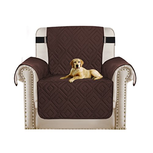 Faux Suede Furniture Protector Stay in Place Reversible Recliner Sofa Slipcover with Adjusts Straps, Features Protect from Pet, Stains, Wear and Tear (79 inch x 68 inch for Recliner, (Faux Suede Slipcover)