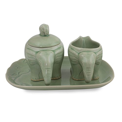 NOVICA ''Smiling Thai Elephants'' Celadon Ceramic Sugar And Creamer Set by NOVICA