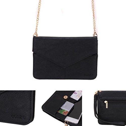 Conze Mujer embrague cartera todo bolsa con correas de hombro para Smart Phone para BLU Life One/XL/8/X/M negro negro negro