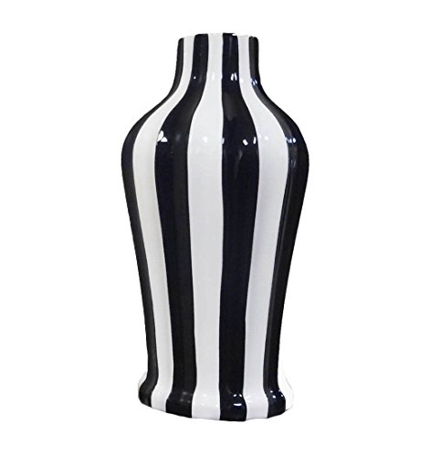 TUSCAN COLLECTION CLASSIC BLACK & WHITE STRIPED CERAMIC VASE, 80573B/W BY ACK