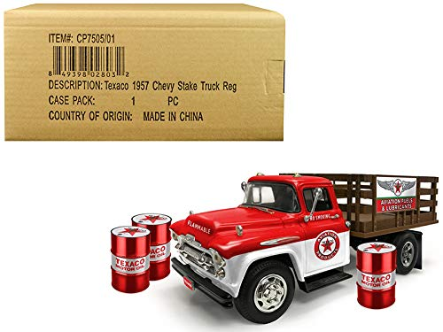 Bed Truck Stake - 1957 Chevrolet Stake Bed Truck White/Red with 3 Oil Drums Texaco Aviation Fuels & Lubricants Regular Edition 1/25 Diecast Model by Autoworld CP7505