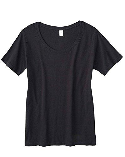 Anvil 391A Ladies Sheer Scoop Neck T-Shirt Black Medium