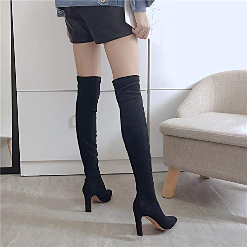 LBTSQ Fashion Damenschuhe Sexy Sexy Sexy Schlank 8Cm Heel Knie Hohe Stiefel Wildleder Sagte Ferse Dicke Schwarze Stiefel Ritter e98e8e
