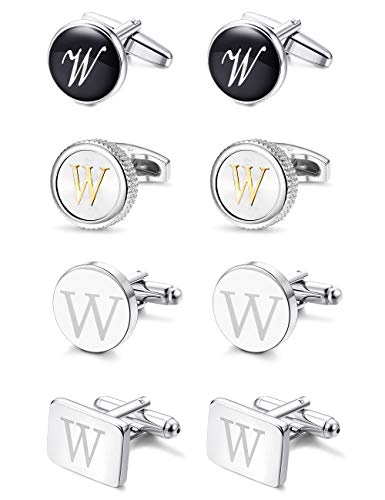 LOYALLOOK 4Pairs Men's Initial Letter Shirts Cufflinks Engraved Shirt Cufflink Alphabet Set Fashion Dazzle Tuxedo Cufflinks Business Wedding Father's -