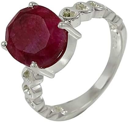Banithani 925 Pure Silver Amazing Ruby Gemstone Ring Designer Fashion Jewelry