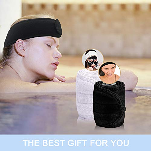 GonHui Face Wash Headband for Women Head Warp Terry Cloth Adjustable Makeup Headband Girl Hair Band for Face Wash, Shower, Facial Spa,(3-Pack)