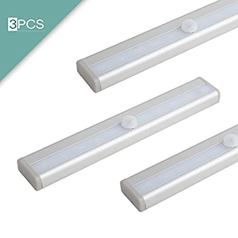 eDealMax 3 piezas de pilas con sensor de movimiento PIR 10 LED de luz del armario