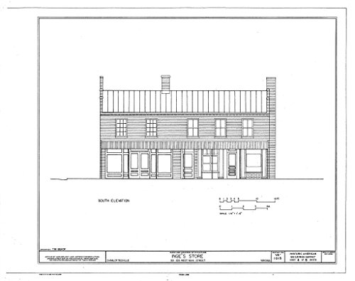 Historic Pictoric Blueprint Diagram HABS VA,2-Char,15- (Sheet 4 of 8) - Inge's Store, 331-333 Main Street, Charlottesville, Charlottesville, VA 14in x 11in (Charlottesville Va In Stores)