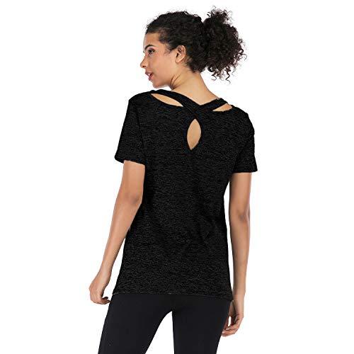 Metme Women Workout Tank Tops Exercise Yoga Shirt Cross Back Activewear Gym Top Black Grey