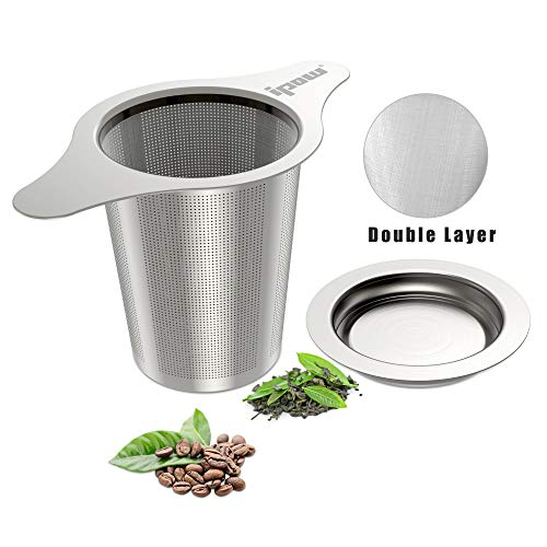 IPOW Upgraded 18/8 Stainless Steel Tea and Coffee Infuser Fine Mesh Filters Tea Strainer Steeper Double Handles for Hanging on Teapots, Mugs, Cups to steep Loose Leaf Tea and Coffee