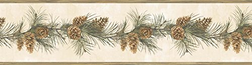 Chesapeake HTM48402B Bubba White Pinecone Boughs Trail Wallpaper Border