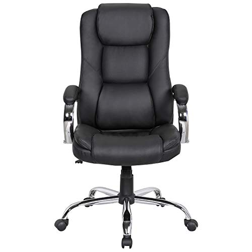 LCH High Back Leather & Fabric Office Chair with Adjustable Tilt Angle - Computer Desk Chair with Thick Padding for Comfort and Ergonomic Design for Lumbar Support