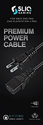Sliq Premium Power Supply Cable for Xbox One/360, PS4 Pro - 6 Feet from Sliq Gaming