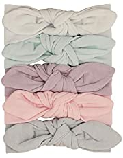 Lila & Jack Baby Girl Headband Bows - Pretty Polyester Head Piece Head wrap Bow Knot - Stretchy and soft for newborn babies…