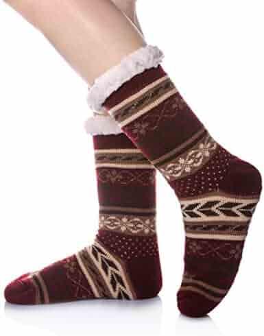 f95f5739601 DoSmart Womens Winter Thermal Snowflake Fleece Lining Fuzzy Warm Indoor  Home Socks