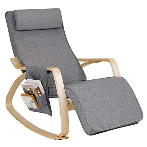- Giantex Comfortable Rocking Chair, Removable Cushion Cover, Side Pocket & Soft Pillow Anti-Slip Mat for Living Room, Bedroom and Indoor, Lounge Chair Relax Chair with Cotton Fabric Cushion, Gray