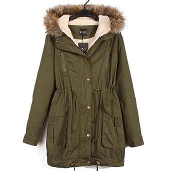 Win8Fong Women Warm Hooded Military Green Faux Fur Long ...