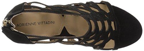 ADRIENNE VITTADINI Footwear Womens Alby Wedge Sandal Black Sueded K1BqOiBvXP