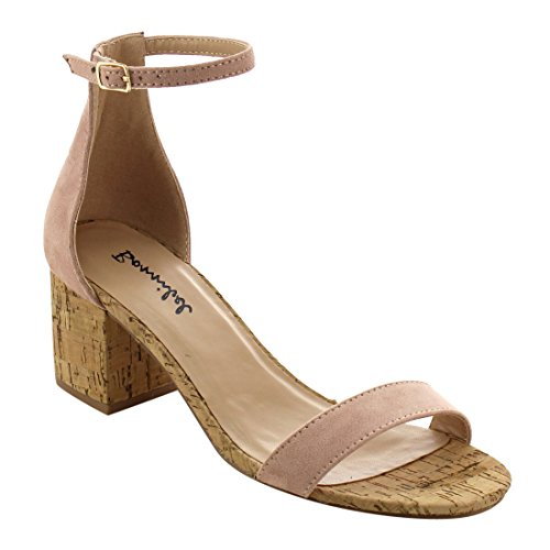 Bonnibel Womens Reina Classical Block Cork Heel Ankle Strap Dress Shoe Sandals Blush sNP58