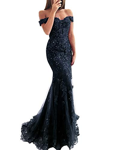 Tulle Mermaid Dress - YSMei Lace Mermaid Tulle Prom Dresses Off Shoulder Long Formal Party Gown Navy Blue 02