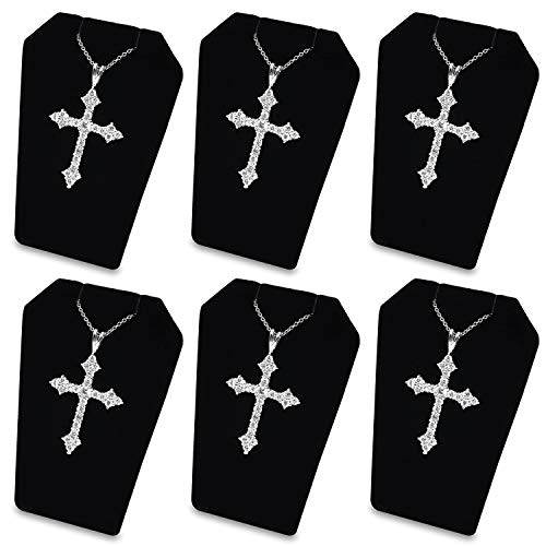 Display Ring Pendant Stand Jewelry - Mooca 6 PCS Set Black Velvet Earring Stand Necklace Chain and Pendant Display Stand