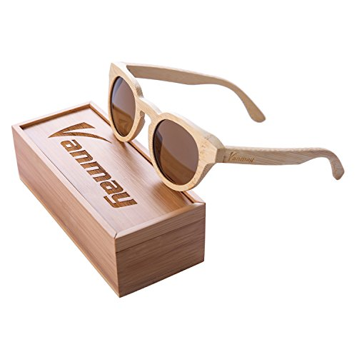 Vanmay Round Retro Mirror Lenses UV Protection Polarized Unisex Bamboo Sunglasses (Brown, - Bamboo Proof Sunglasses