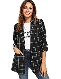 Women's Open Front Blazer Shirt Casual Plaid Roll Up Sleeve Jacket with Pocket