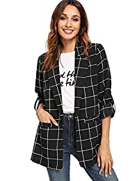 Milumia Women's Open Front Blazer Shirt Casual Plaid Roll Up Sleeve Jacket with Pocket