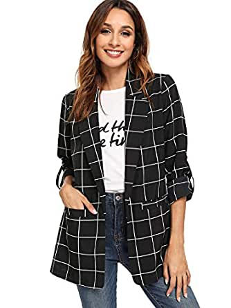 Milumia Women's Open Front Blazer Plaid Roll Up Sleeve Jacket with Pocket Black S