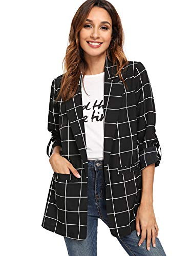 Milumia Women's Open Front Blazer Plaid Roll Up Sleeve Jacket with Pocket Black -