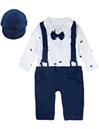 MOMBEBE COSLAND Baby Boys' Ship Gentleman Romper Outfit with Hat