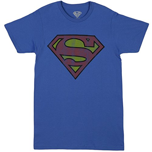 Bioworld Men's Superman Logo Tee, Royal Blue, Medium