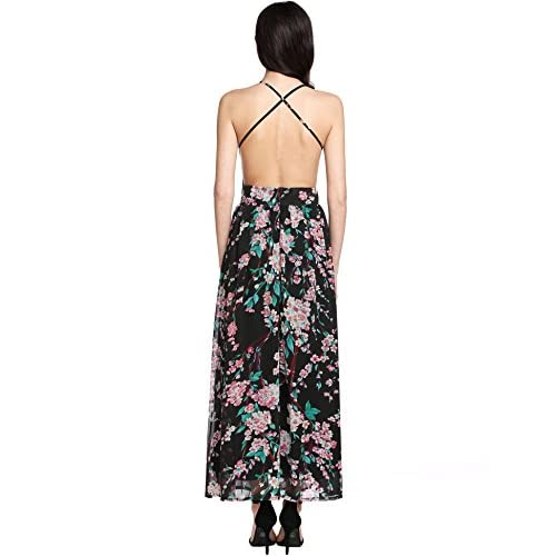 defed8184b8 Meaneor Women s Floral Print Backless Halter Neck Chiffon Maxi Long Beach  Dress durable modeling