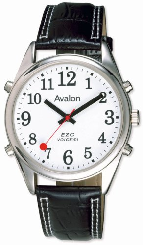 Avalon EZC Men's XL Silver-Tone Low Vision 4-Button Talking Watch # 7423