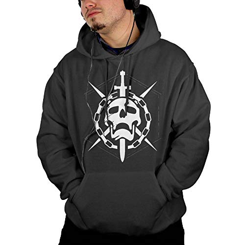 Strividialous Men's Destiny Game Raid Logo Classic Black Hoodies with Pocket 3X - Raid Sweatshirt