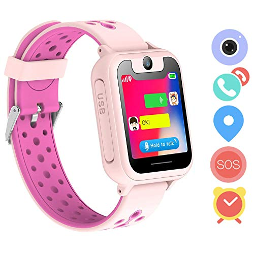 LDB Direct Kids Smartwatches - Children GPS/LPS Touch Screen SOS Tracker Smart Watch Phone with Tow-Way Call Voice Chat Game Flashlight for Boys Girls Birthday (Pink)