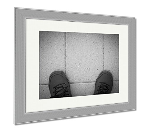 Ashley Framed Prints Viewed From Above The Shoe, Contemporary Decoration, Black/White, 26x30 (frame size), Silver Frame, (Asphalt Footwear)