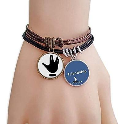 Gesture Pattern Black Silhouette Friendship Bracelet Leather Rope Wristband Couple Set Estimated Price -