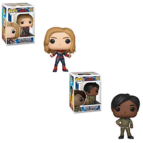 Funko POP! Marvel Comics Captain Marvel: Captain Marvel Bobble-Head and Maria Rambeau Bobble-Head Toy Action Figures - 2 POP Bundle]()