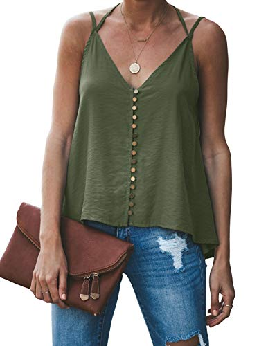 GAMISOTE Women's Loose Open Back Halter Casual Shirt Tee Backless Sexy Satin Cami Tank Tops Green