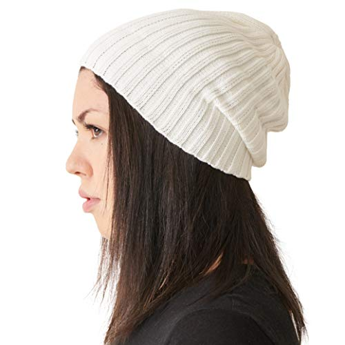 (Mens Fisherman's Beanie Hat - 100% Cotton Ribbed Slouch Cap Women Chemo Knit Winter Summer Simple Classic Design White)