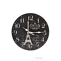 American Chateau 14 Large Wood Vintage-Style French Black Eiffel Tower Paris Wall Clock