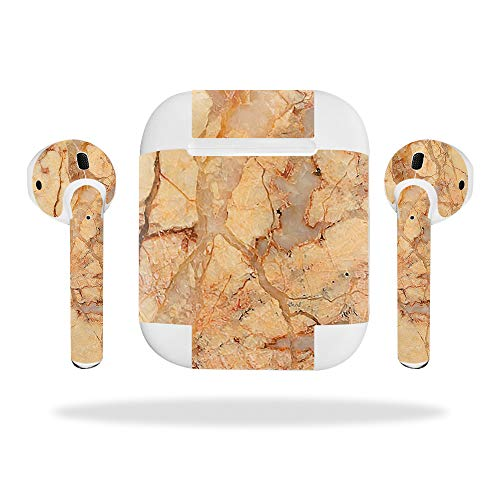 - MightySkins Skin Compatible with Apple AirPods - Amber Marble | Protective, Durable, and Unique Vinyl Decal wrap Cover | Easy to Apply, Remove, and Change Styles | Made in The USA